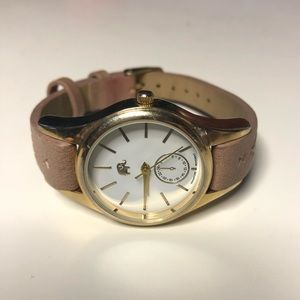 Francesca's mutes pink and gold watch